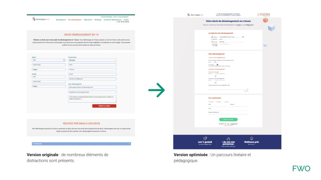 Optimisation de l'ergonomie du formulaire de demande de lead après Audit CRO par FWO.